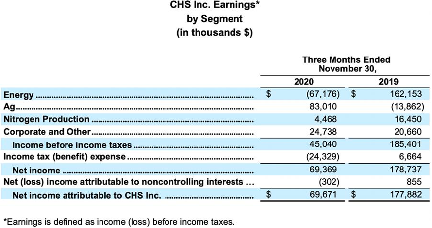 CHS Inc. FY2021 Q1 Earnings by Segment balance sheet
